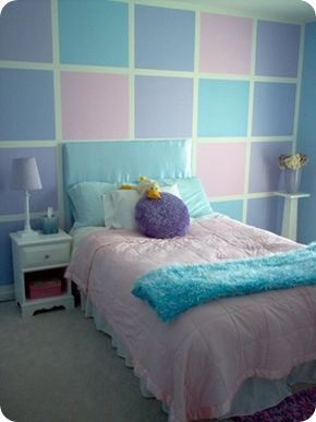 Cool Pink, blue, purple girls room. I would love to do this for Emma purple and pink bedroom paint ideas