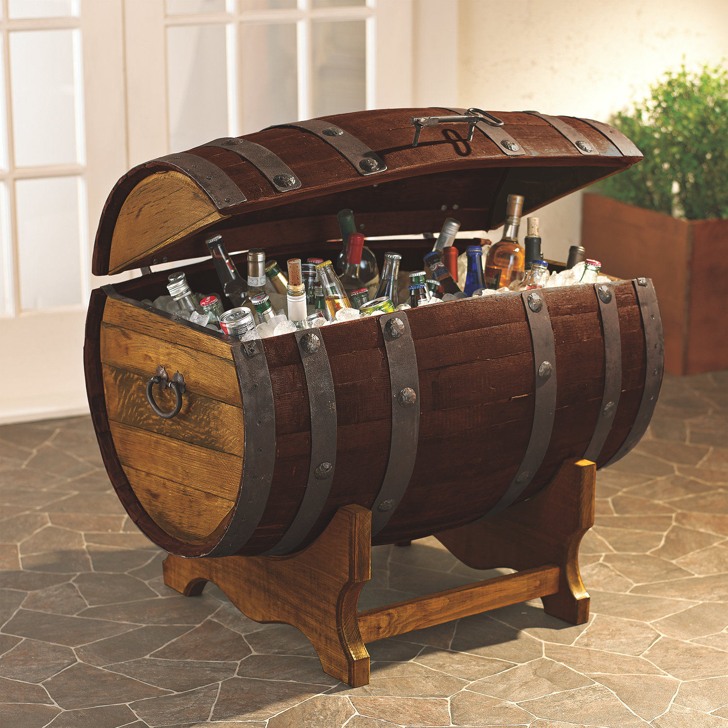 Cool Reclaimed Tequila Barrel Ice Chest and Stand (Large) wine barrel furniture
