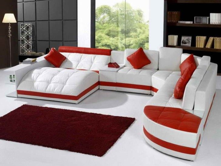 Amazing Furniture, Unique Red White Leather Sectional Sofa Completed With Red  Square Cushions cool sectional sofas