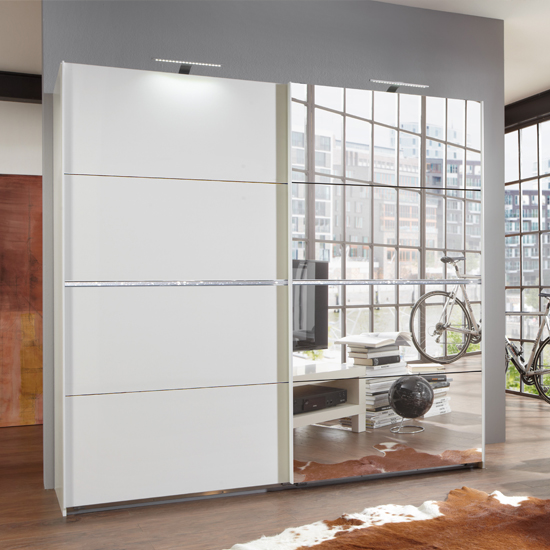 Cool Swiss White Sliding Wardrobe With Mirrors And Crystal Rhinstones £699.95  Dimensions: white mirrored wardrobe
