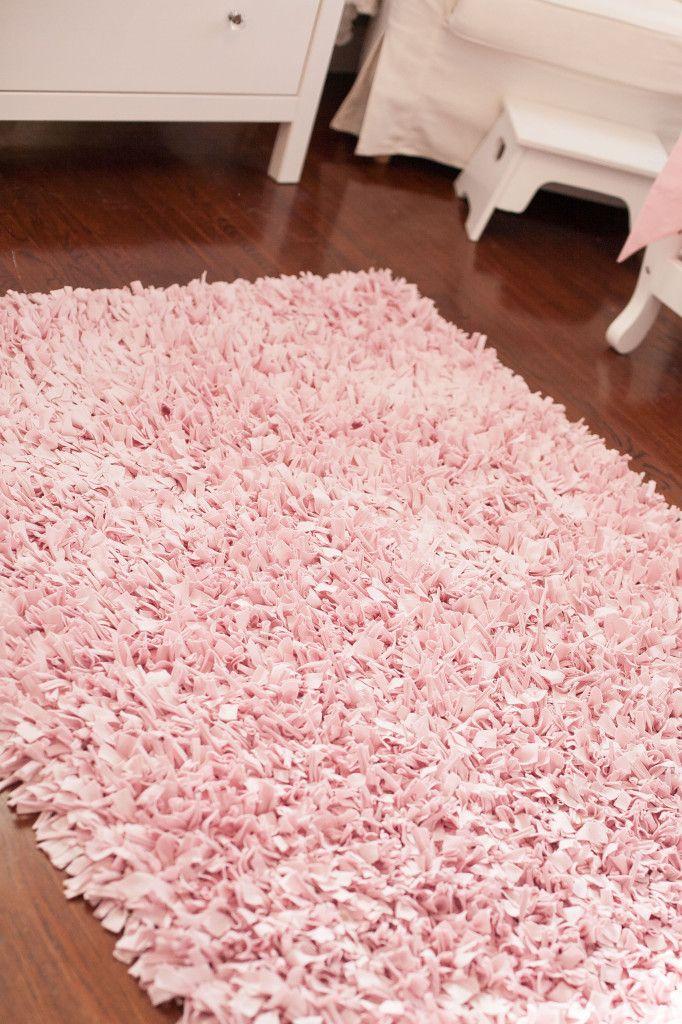 Cool Tiny Budget in a Tiny Room for a Tiny Princess. Pink Shag RugPrincess pink nursery rug