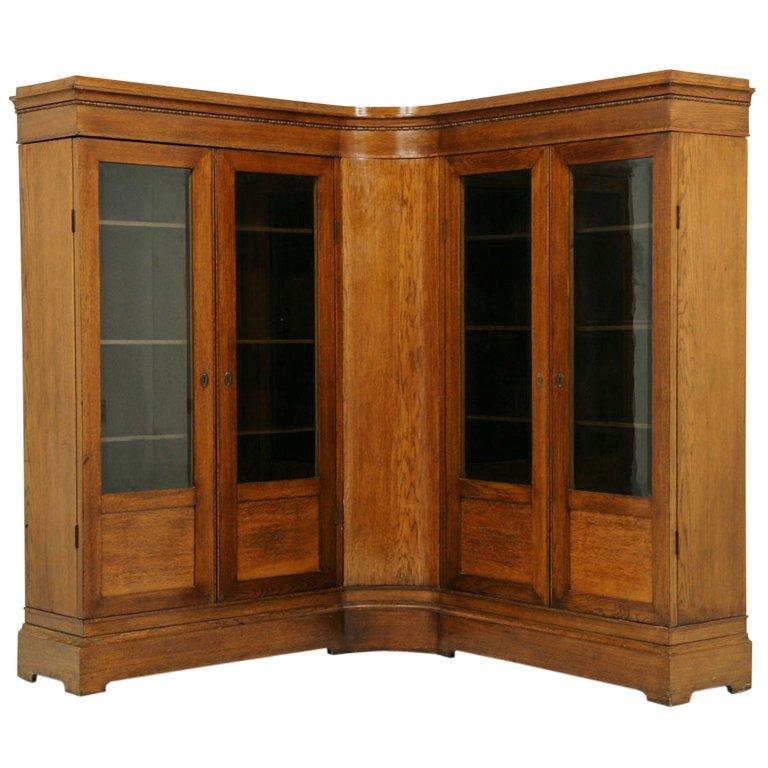 Cool Unusual Antique Oak Corner Bookcase 1 oak corner bookcase