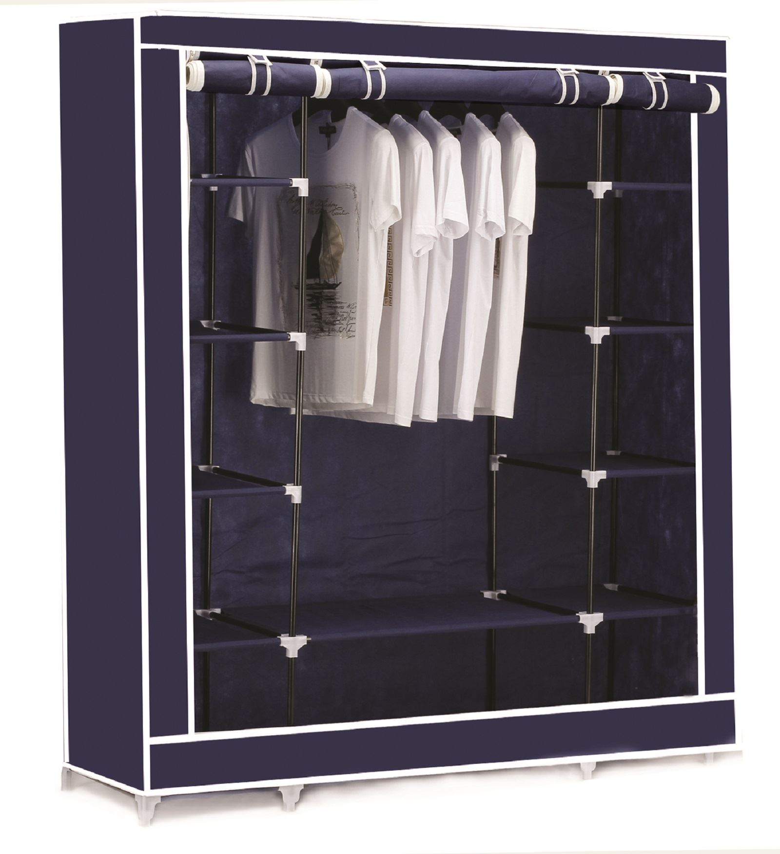Cool Vinsani-Triple-Canvas-Clothes-Wardrobe-Hanging-Rail-With- triple canvas wardrobe