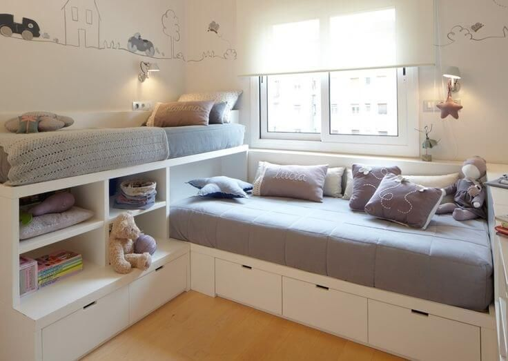 Cozy 12 Clever Small Kids Room Storage Ideas - http://www.amazinginteriordesign. kids bedroom ideas for small rooms