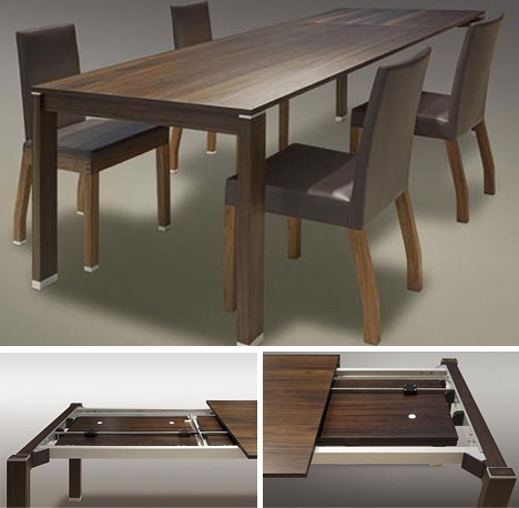 Cozy all-wood-extending-dining-table space saving extending dining table