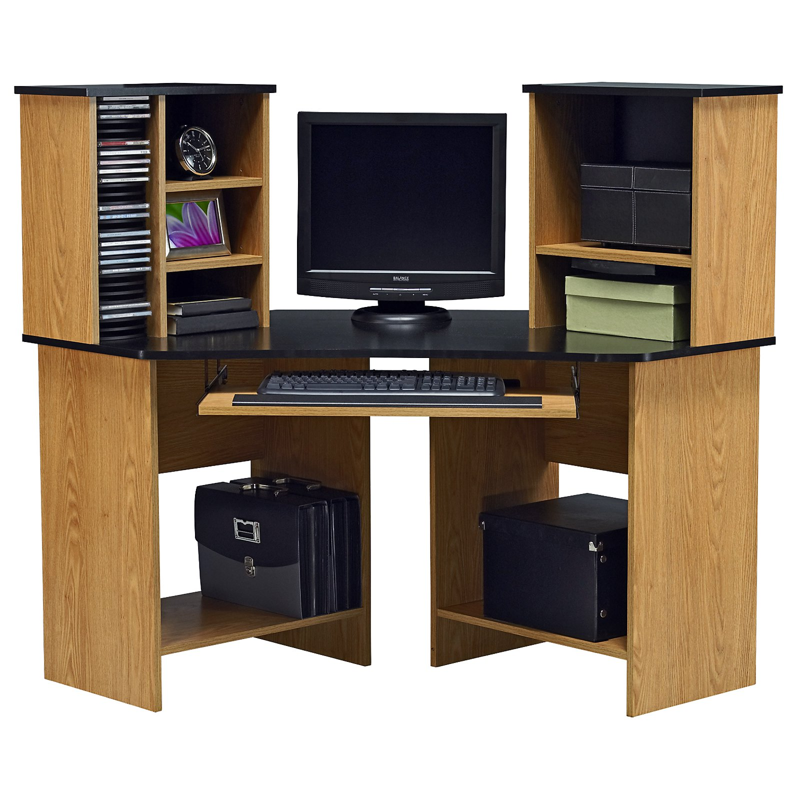 Cozy Ameriwood Corner Computer Desk and Hutch-Oak and Black at Hayneedle corner computer desk with hutch