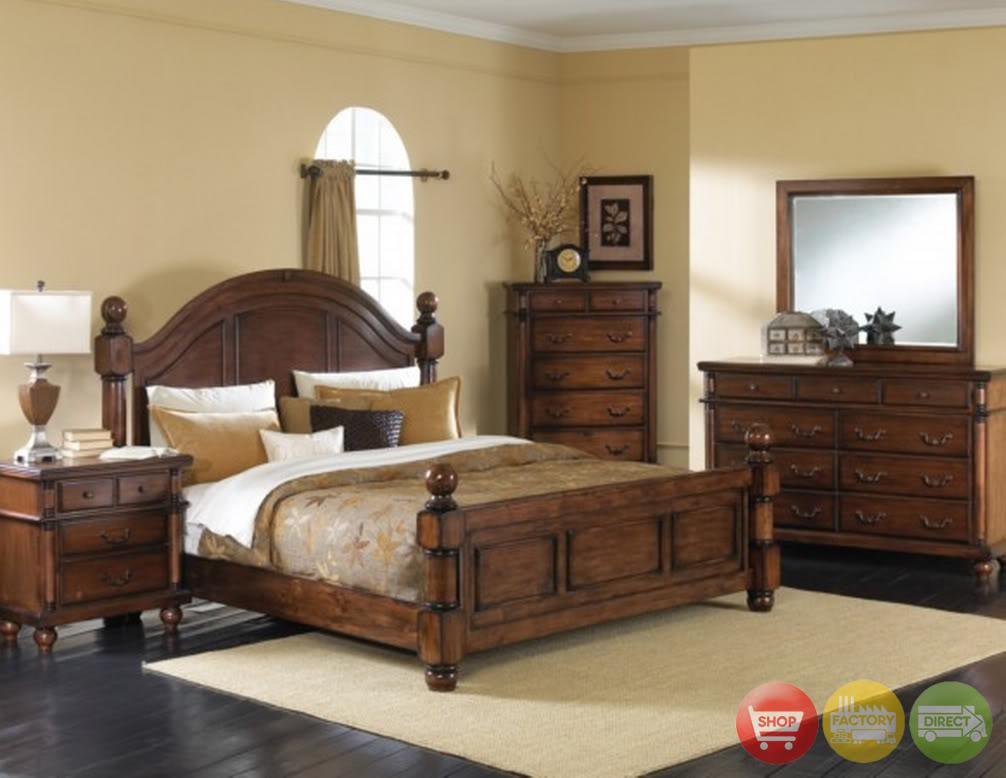 Cozy Augusta Distressed Walnut Bedroom Collection walnut bedroom furniture