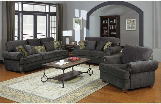 Cozy Coaster Traditional Grey Chenille Sofa Couch Loveseat Accent Arm Chair  contemporary-sofas grey chenille sofa