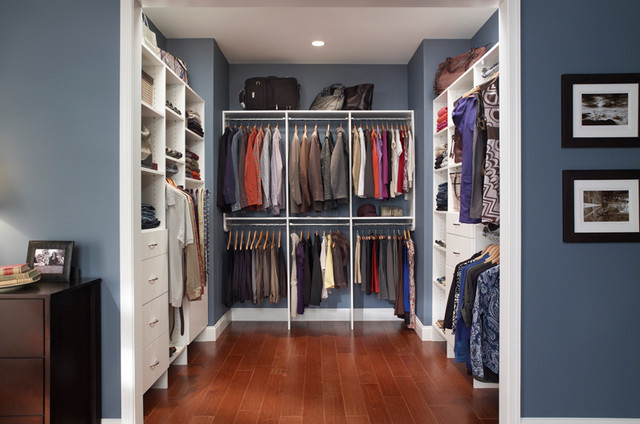 Cozy Custom Walk-In Closet Organizers: White traditional-closet walk in closet organizers