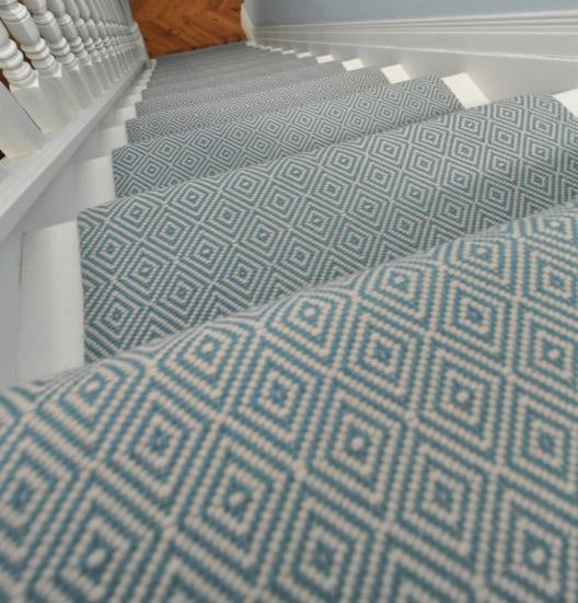 Cozy Diamond Flatweave Blue Stair Runner By Hartley And Tissier Hall geometric stair runner