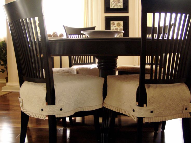 Cozy Dining room chair covers - cute tab/button detail dining room chair cushion covers