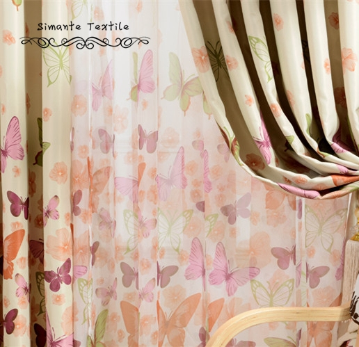 Cozy Free shipping printed custom made ready made butterflies design sheer  curtains rustic sheer butterfly curtains