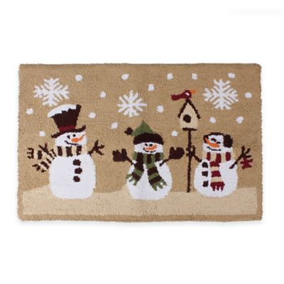 Cozy Heartland Snowman 1 Foot 6-Inch x 2 Foot 5-Inch Kitchen Rug in christmas kitchen rugs