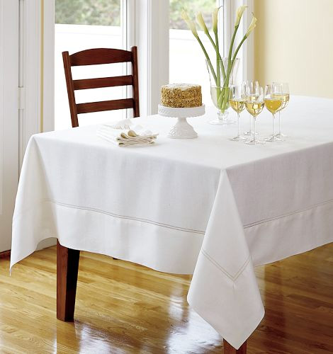 Cozy hemstitched linen tablecloths white Fine Table Linens for Summer linen  tablecloth linen table cloth