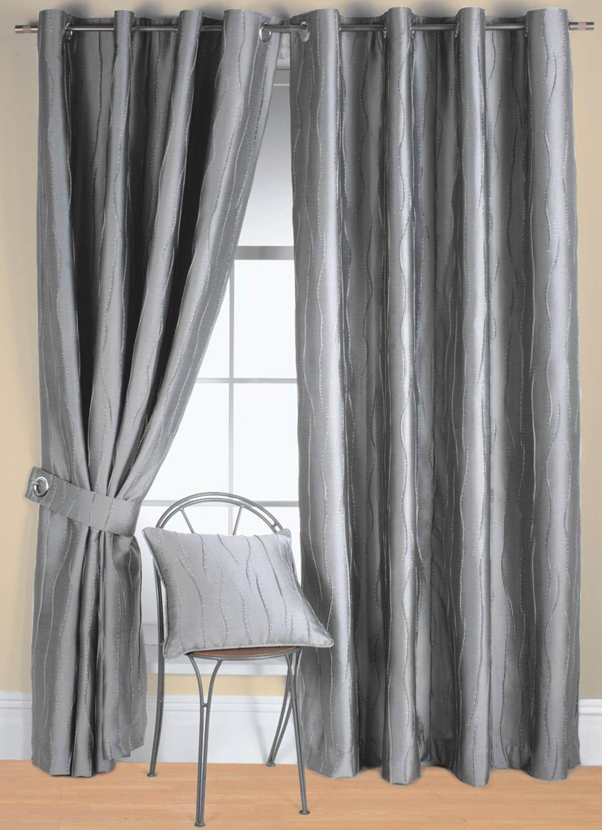 Cozy Jazz Ready Made Eyelet Curtain silver eyelet curtains