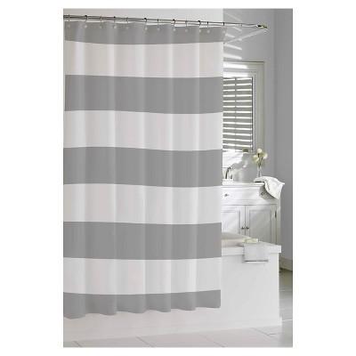 Cozy Kassatex Hampton Stripe Shower Curtain - Gray black and white striped shower curtain