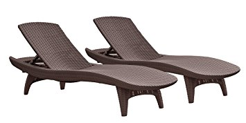 Cozy Keter Pacific 2-Pack All-weather Adjustable Outdoor Patio Chaise Lounge  Furniture, Brown patio lounge chairs