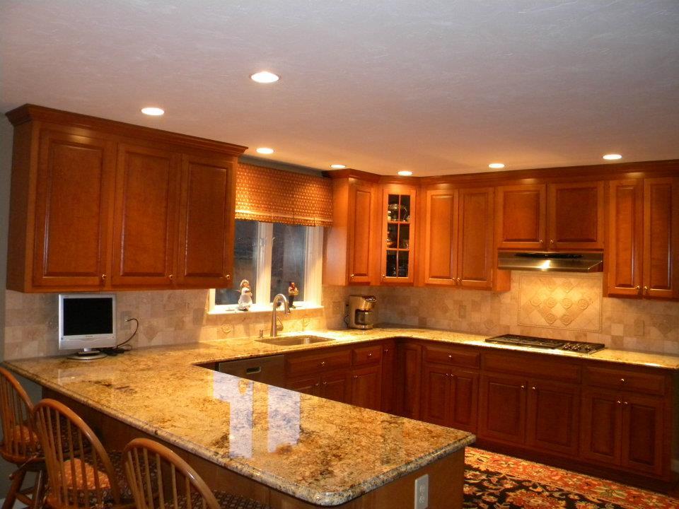 Cozy Kitchen Countertops and Backsplashes | ... Granite Countertops w/ Tumble  Marble Backsplash kitchen counters and backsplash