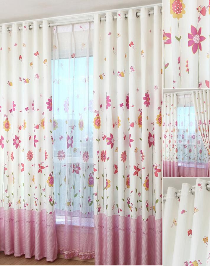 Cozy Korean Pink Floral Girls Bedroom Jacquard Heavy Sweet Floral Curtains floral bedroom curtains