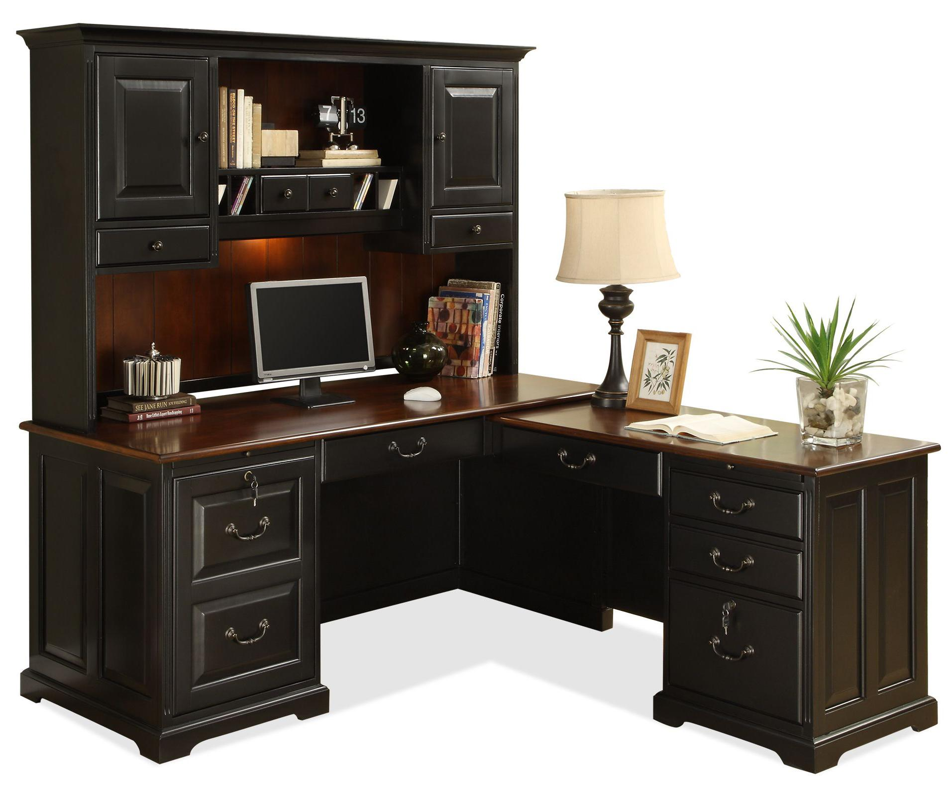 Cozy L-Shape Computer Workstation Desk with Hutch l shaped computer desk with hutch