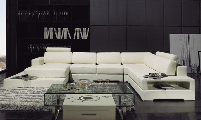 Cozy Latest Modern Design Sofa U Shaped Corner Sofa with LED Light Storage modern design sofas