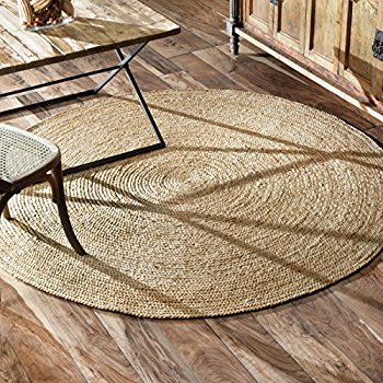 Cozy nuLOOM Jute Collection Rigo Area Rug, 6-Feet Round, Natural round jute rug