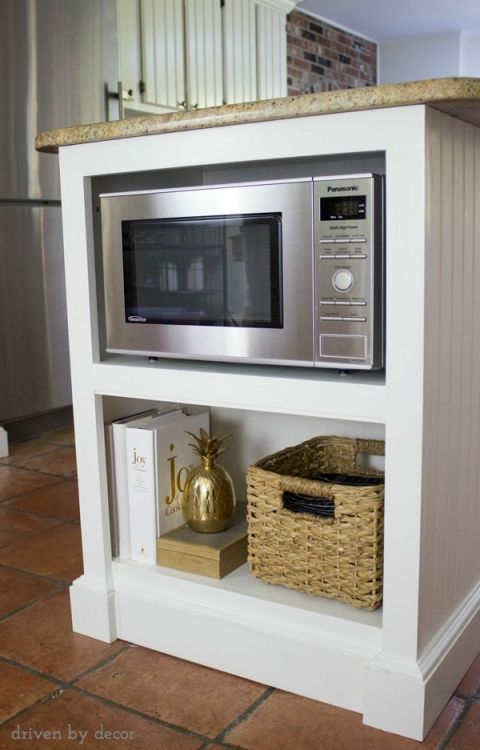 Cozy Our Remodeled Kitchen Island with Built-in Microwave Shelf microwave storage shelf