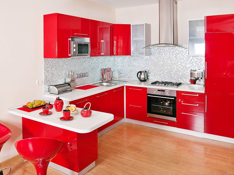 Cozy Red Kitchen Furniture White Wall and Wooden Flooring red and white kitchen designs