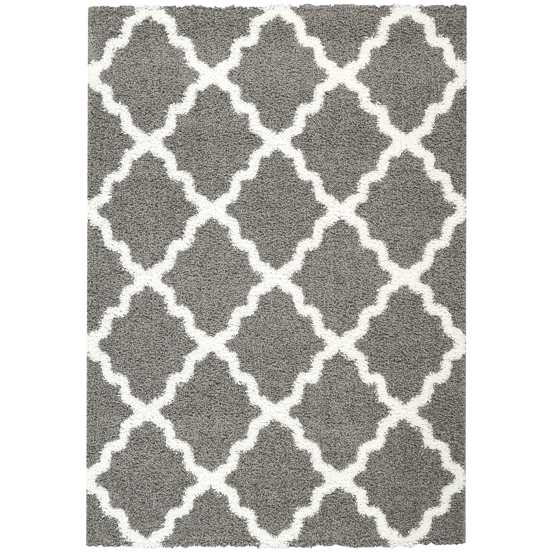 Cozy Rugnur Bella Maxy Home Moroccan Trellis Contemporary Gray/White Shag Area  Rug white and gray shag rug