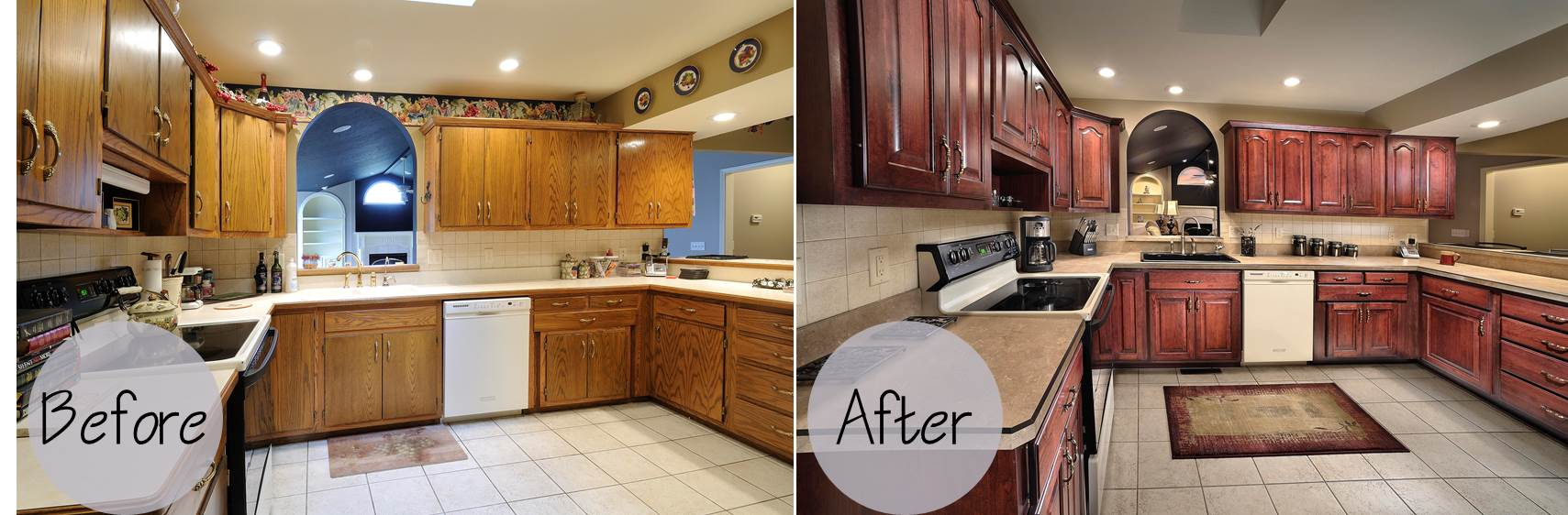 Cozy Schrock Before and After kitchen cabinet refacing before and after