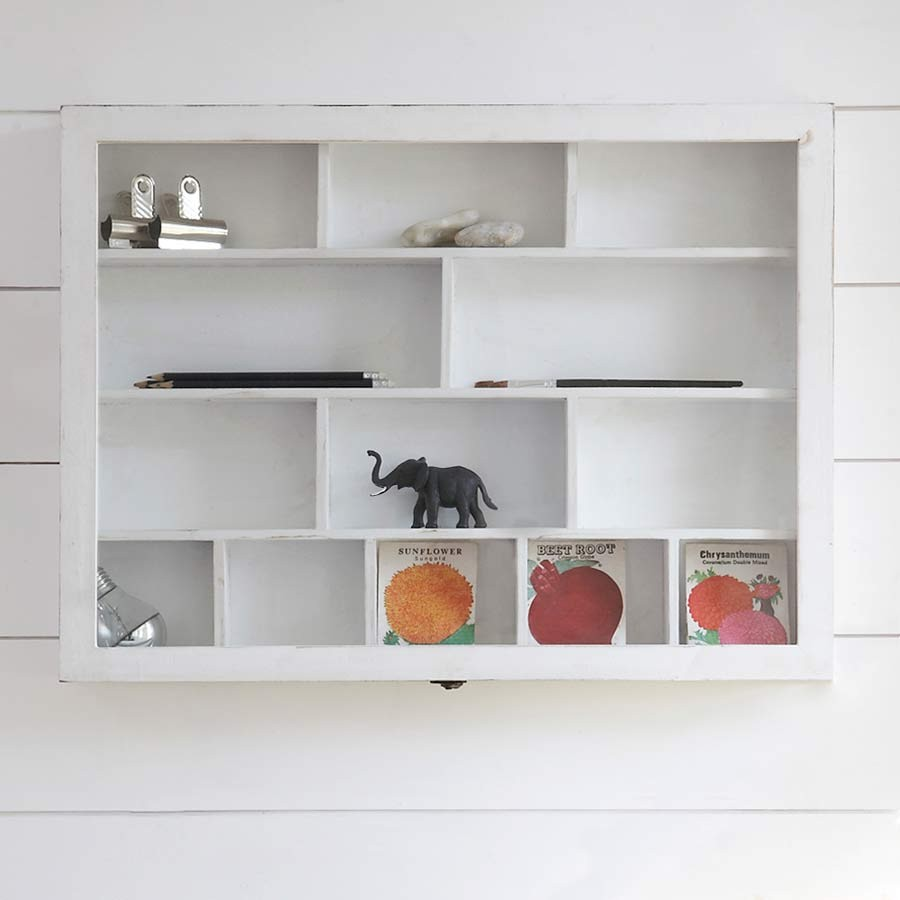 Cozy This versatile 13 compartment shabby chic wooden shelf unit is perfect for wall mounted shelving units