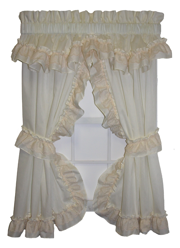 Cozy Victoria Ruffled Priscilla Curtains with Lace Accented Ruffle priscilla curtains with attached valance