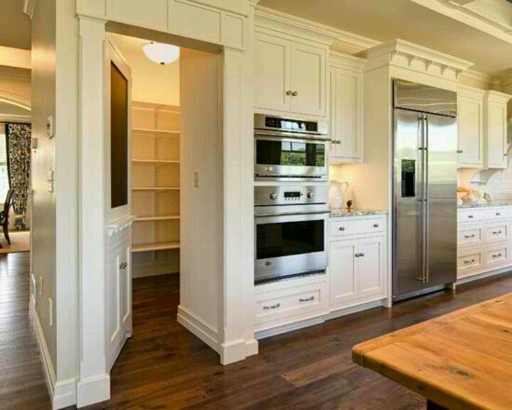 Cozy Walk in pantry behind the kitchen? Umm, yes, please!! Josh and walk in pantries for kitchen