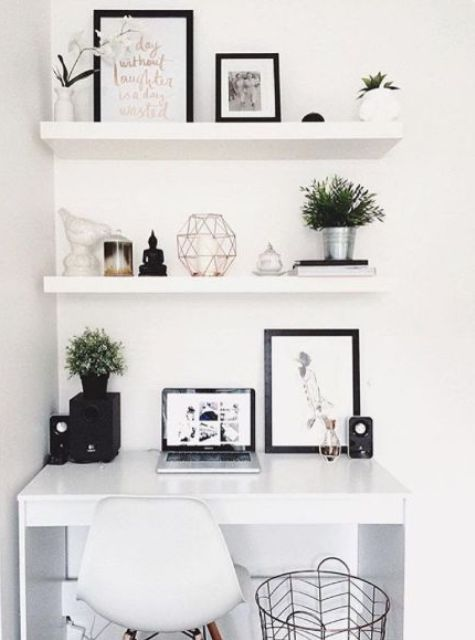 Cozy white floating shelves echo with the white lacquer desk for a perfect white floating shelves