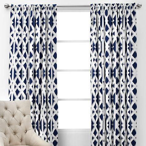 Cozy Window Treatments - Elton Panels | navy and white geometric drapes, navy blue and white curtains