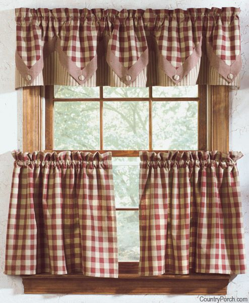 Cozy York Lined Point Curtain Valance These would look great in my kitchen. rustic kitchen curtains