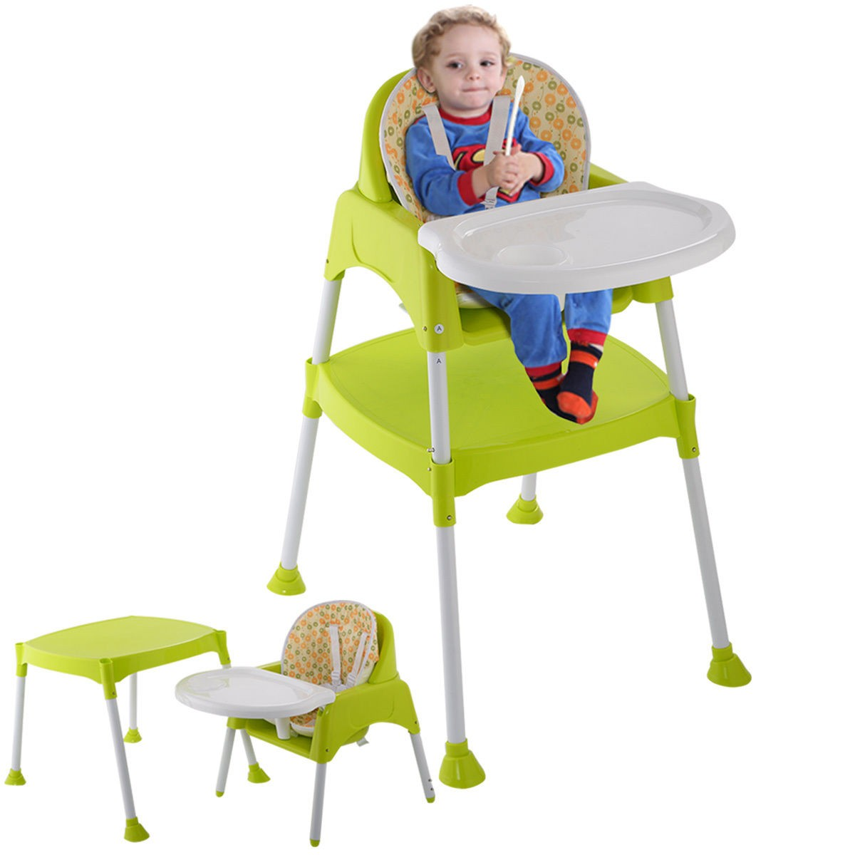 Cute 3 in 1 Baby High Chair Convertible Table Seat Booster Toddler Feeding toddler high chair