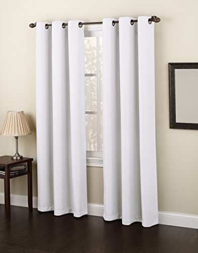 Cute 918 Montego Casual Textured Grommet Curtain Panel, 48 white blackout curtains