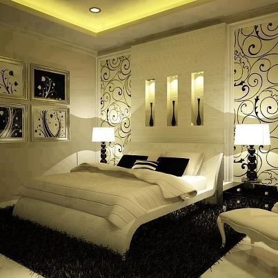 Cute Awesome Bedroom Design! Love the black u0026 white, but I need color... maybe black and white bedrooms with a splash of color