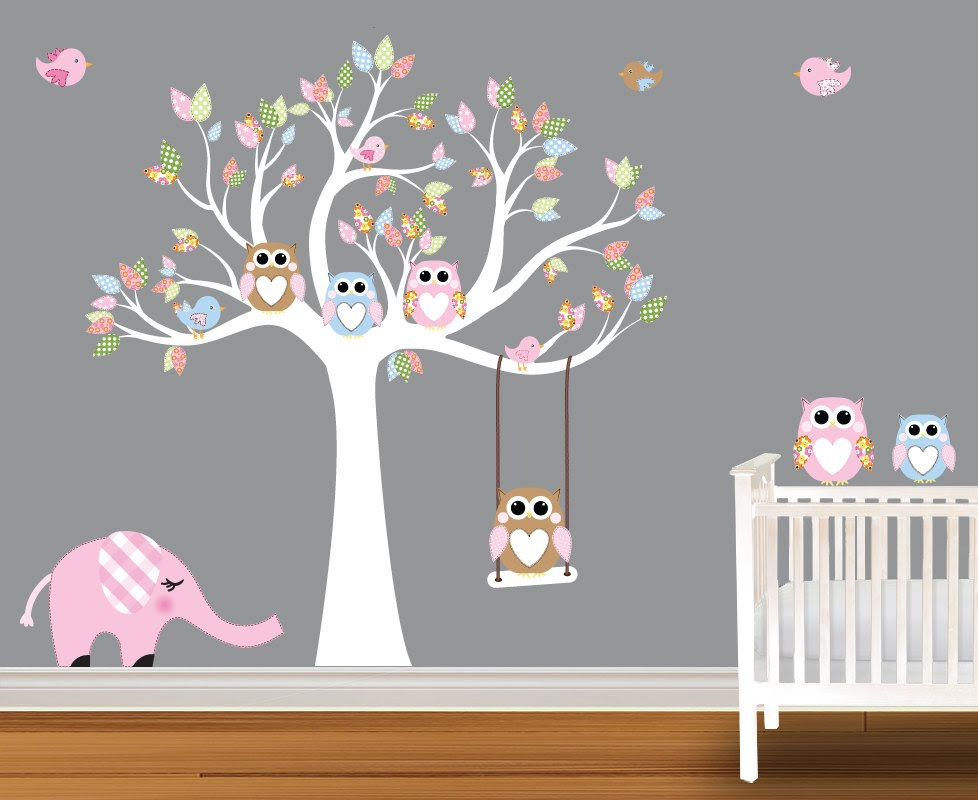 Cute Baby Wall Decals - Nursery Wall Decals Birch Trees - YouTube baby bedroom wall stickers