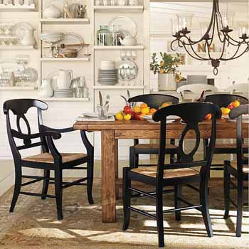 Cute Black dining table and 6 chairs, made of solid wood, black chandelier and black dining room chairs