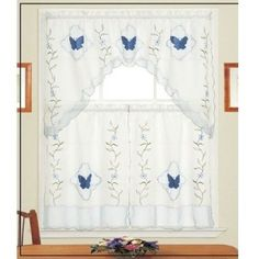 Cute Blue Butterfly Kitchen Curtains butterfly kitchen curtains