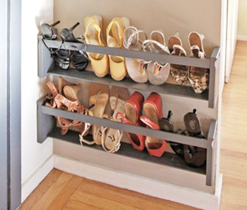Cute Clever shoe storage - need a joiner for this though shoe racks for small spaces
