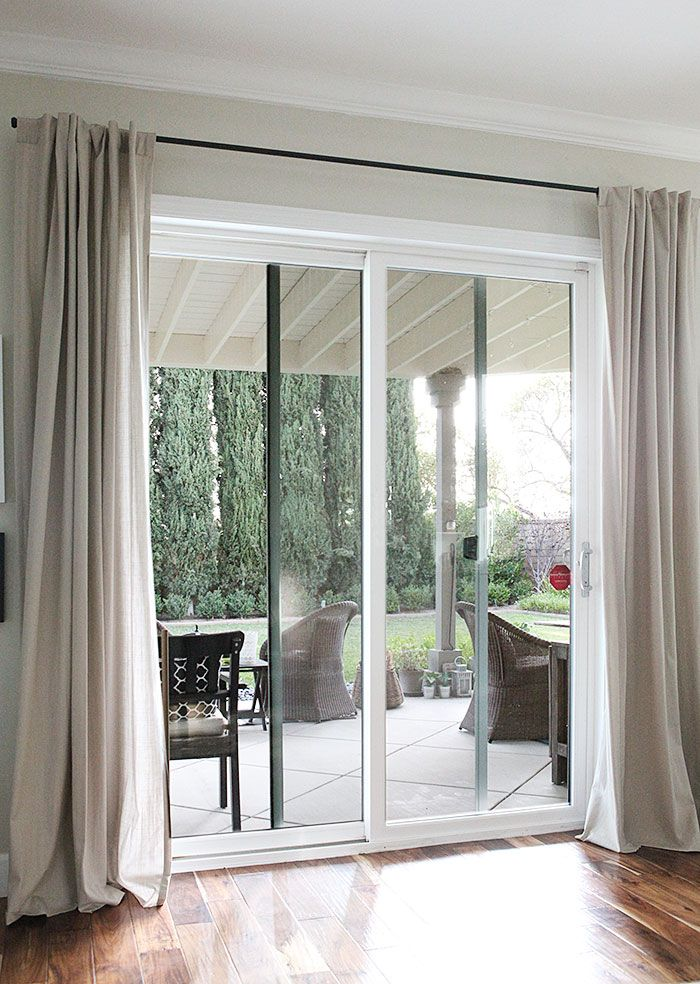 Cute Curtain rods from galvanized pipes without the industrial look. Door Window patio door curtains