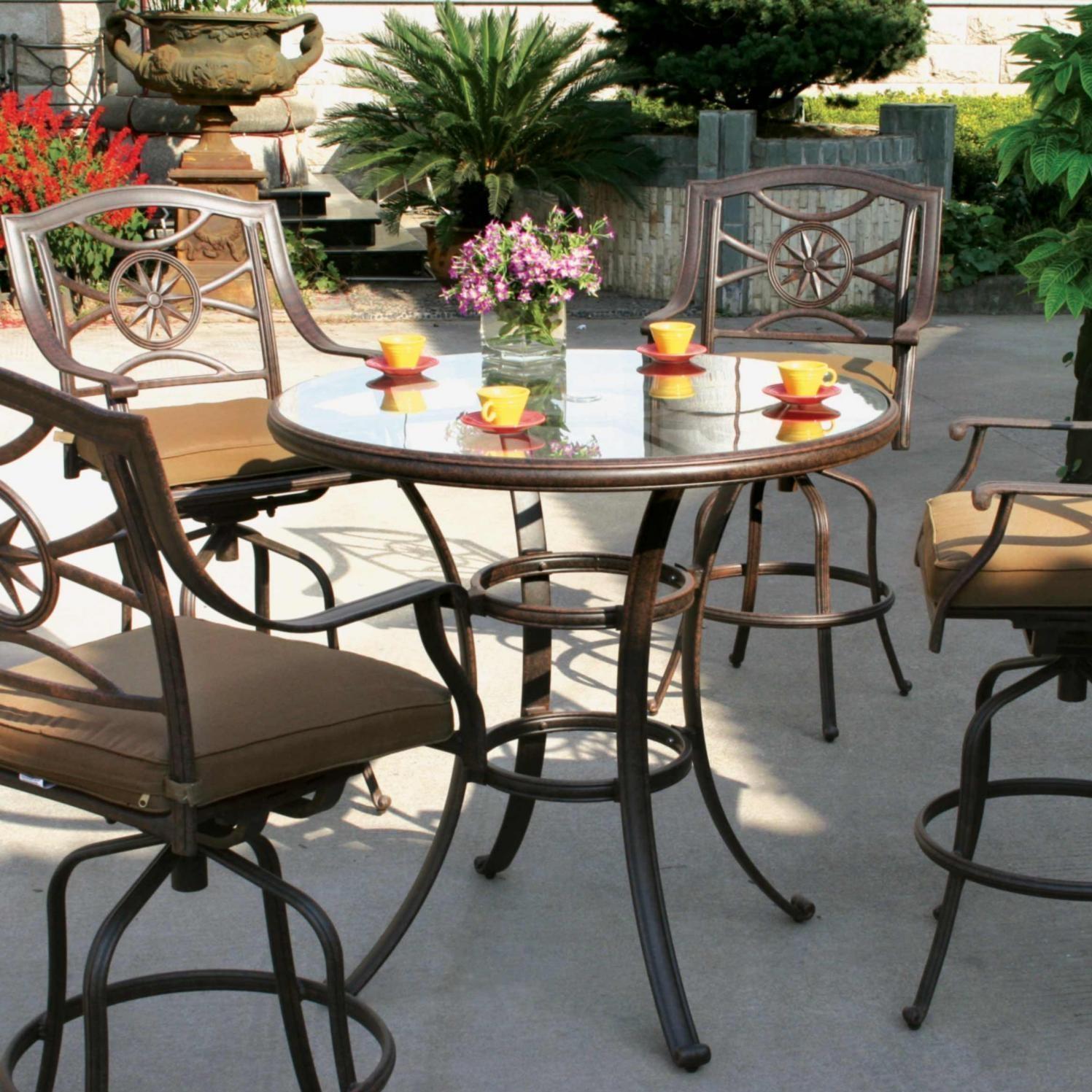 Cute Darlee Ten Star 4-Person Patio Bar Set - Antique Bronze. Darlee Ten Star 5 piece bar height patio set