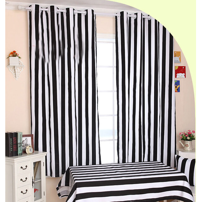 Cute Funky Black And White Striped Curtains Of Cotton Fabric black and white striped curtains