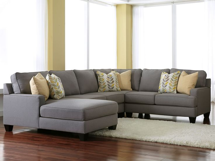 Cute grey sectionals with chaise | Chamberly Alloy 4 Piece Modular Sectional  Fabric gray sectional sofa