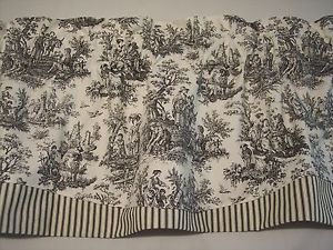 Cute Image is loading NEW-BLACK-ON-WHITE-WAVERLY-Rustic-Toile-Striped- waverly toile curtains