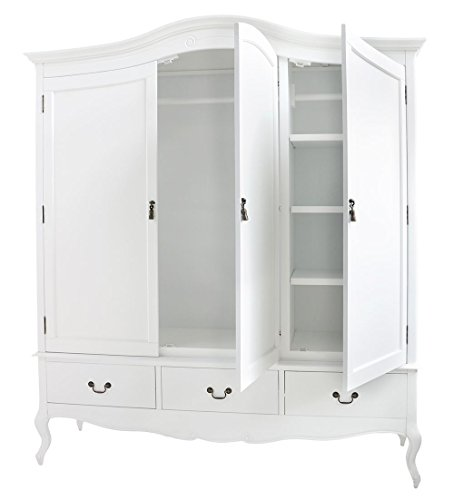 Cute ... Juliette-Shabby-Chic-White-Triple-Wardrobe-with-hanging- ... white triple wardrobe