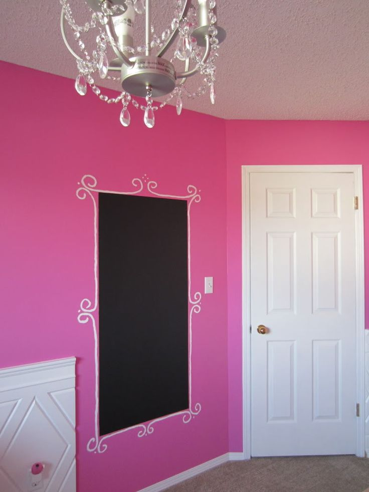 Cute Like this idea. Kira wants a chalkboard wall but this is cute. A purple and pink bedroom paint ideas